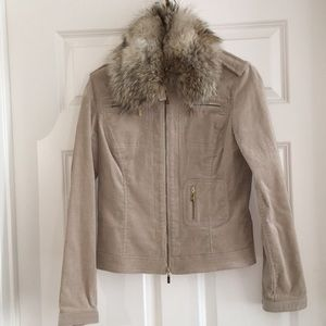 tory Burch zip front fitted jacket  coyote collar